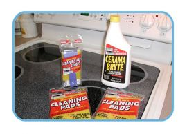 Ceramic Cooktop Cleaner and Cleaning Pad Set From Cerama Bryte (11-Piece Set, Model 81)