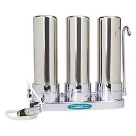 Crystal Quest Countertop Replaceable Triple Fluoride PLUS Water Filter System (Stainless Steel)
