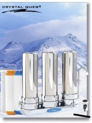 Crystal Quest Countertop Replaceable Triple Nitrate PLUS Water Filter System (Stainless Steel)