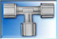 FCUT704 - 1/4-Inch Union Tee Connector w/ three 1/4-Inch Compression Nuts