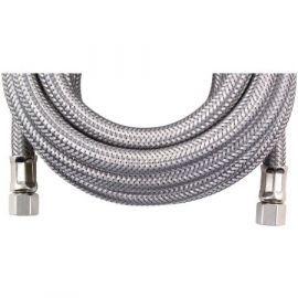 15-Foot Braided SS 1/4-inch Compression Water Line Install Supply Connector by Tier1