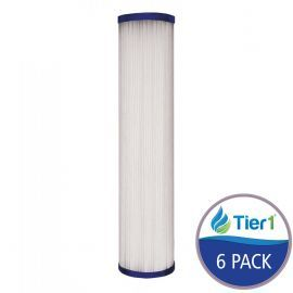 Pleated 10 inch x 2.5 inch Sediment Water Filter by Tier1 (1 Micron) (6 Pack)
