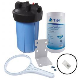 Tier1 10 inch Big Polypropylene Filter Housing with Pressure Release and Sediment Filter Kit (1 inch Inlet/Outlet)