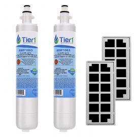 GE RPWF Comparable Refrigerator Water Filter with Odor Filter Comparable by Tier1 Refrigerator Air Filter Combo (2-Pack)