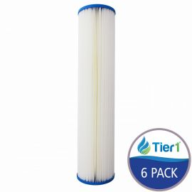 Pleated 20 inch x 4.5 inch Sediment Water Filter by Tier1 (20 Micron) (6 Pack)