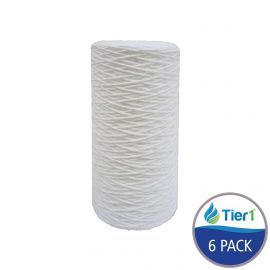 String Wound 10 inch x 4.5 inch Sediment Water Filter by Tier1 (20 Micron) (6 Pack)