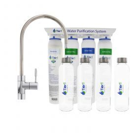 4-Stage Ultra-Filtration Hollow Fiber Quick-Change Drinking Water Filter System with 4 Reusable Glass Water Bottles by Tier1