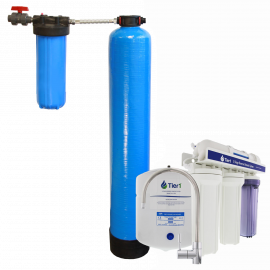 Essential Certified Series Whole House Water Filtration System for Chlorine, Taste & Odor Reduction for 4 - 6 Bathrooms - with Under Sink Reverse Osmosis System by Tier1