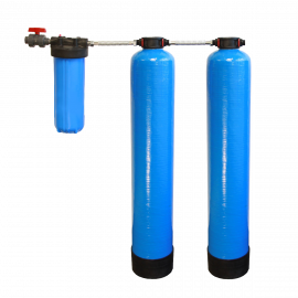 Essential Certified Series Salt Free Water Softener with Chlorine, Taste & Odor Reduction System by Tier1 - With 4 Glass Water Bottles