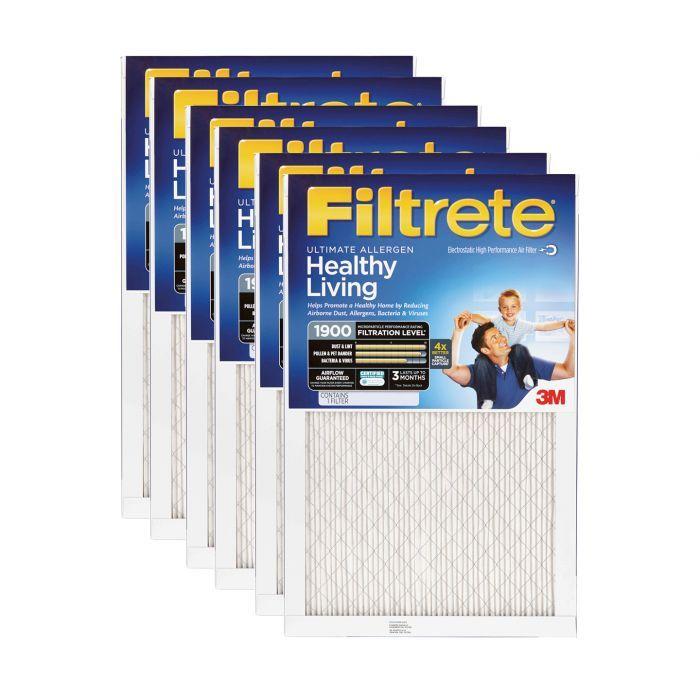 6 Pack 3M Filtrete 20x24x1 Ultra Allergen Reduction Air Filter
