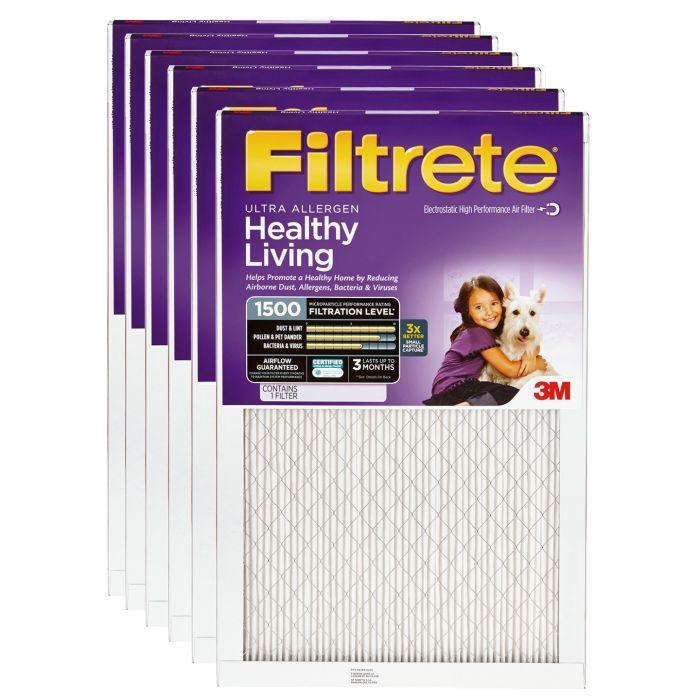 Healthy Living Ultra Allergen AC Furnace Air Filter 6-Pack MPR 1500 Filtrete 20x20x1