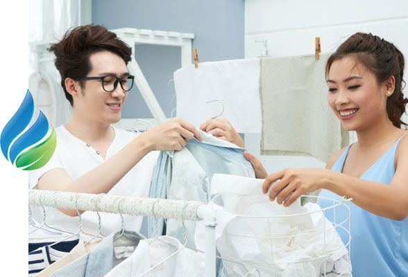 Couple doing laundry